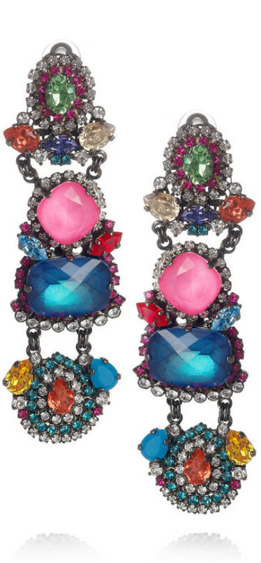 Multicolor Faceted Drop Earrings by Erickson Beamon, Haute Tramp-Living the Jeweled Life