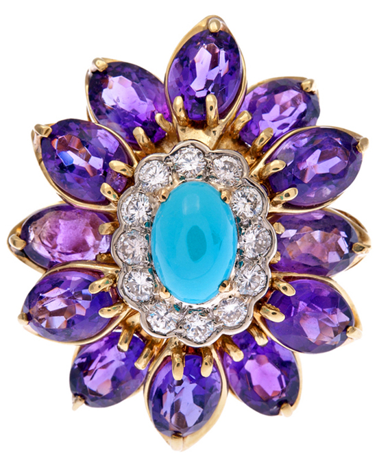 Amethyst, Diamond and Turquoise Flower Ring via Haute Tramp Blog