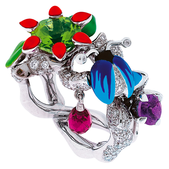 Epinosa Diamants Ring,18K white gold, diamonds, rubellite, amethyst and lacquer