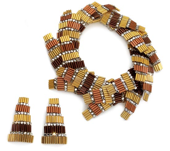 Brown Earth Toned Bugle Beaded Parure, Coppola e Toppo for Valentino, ca 1967