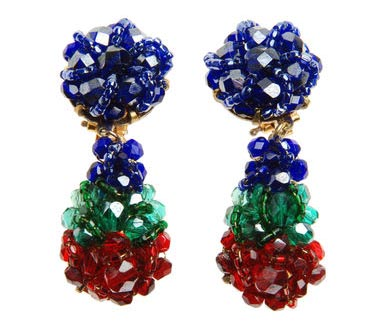 Green, Blue, and Red Beaded Drop Earrings, Coppola e Toppo
