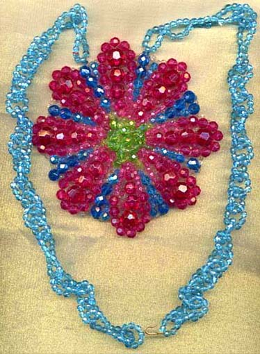 Beaded Blue Necklace with Giant Pink Beaded Flower Focal
