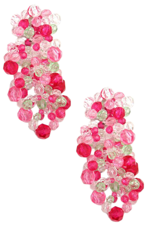 Coppola e Toppo Impressive Pink and Red Beaded Glamour Earrings,  ca.1960's