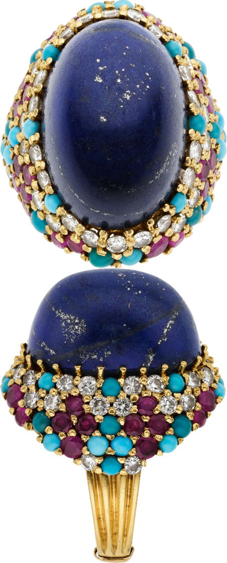 Lapis Lazuli, Diamond, Ruby, Turquoise, Gold Ring.