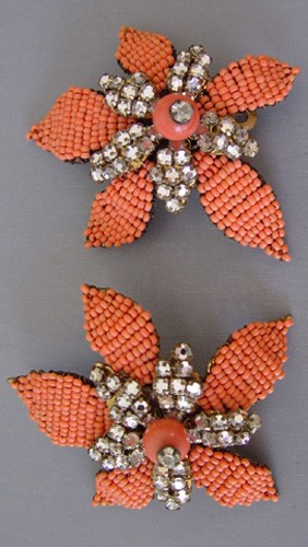 JONNE orange glass seed bead and clear rose montee earrings, circa 1955