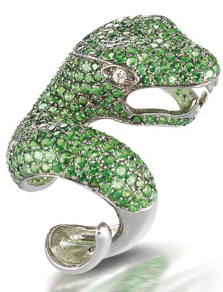 A tsavorite garnet and diamond dress snake ring, by Mayer Collection