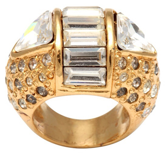 Vintage Gianni Versace Rhinestone Cocktail Ring