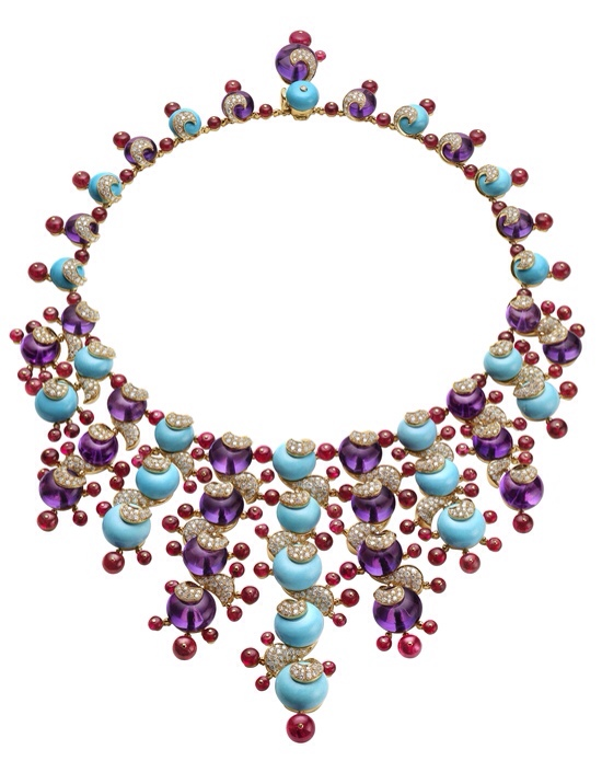 Bulgari High jewelry necklace in yellow gold with 25 amethyst beads, 24 turquoise beads, 127 spinel beads and pave diamonds.  295.7 total ct.