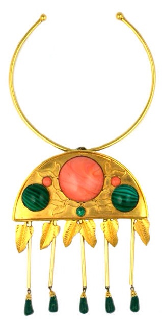 Unusual De Lillo Faux Coral and Malachite Pendant