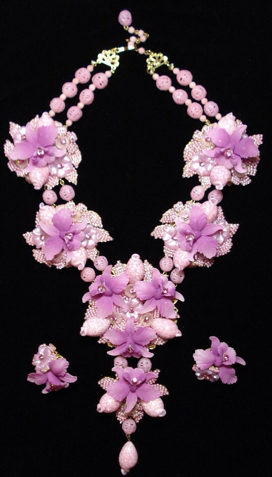 Purple Orchid Necklace and Earring Set by Stanley Hagler via Haute Tramp
