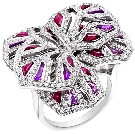 "Cartier diamond, Ruby & Amethyst ""Orchid"" Ring"