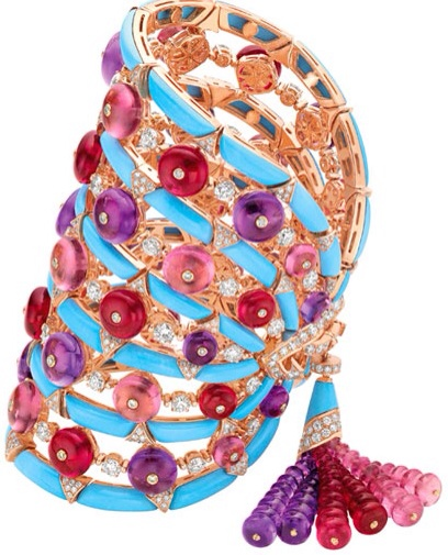 One-of-a-kind bracelet from Bulgari's High Jewelry Collection in pink gold with turquoise, tourmaline, garnet, amethyst and diamonds.
