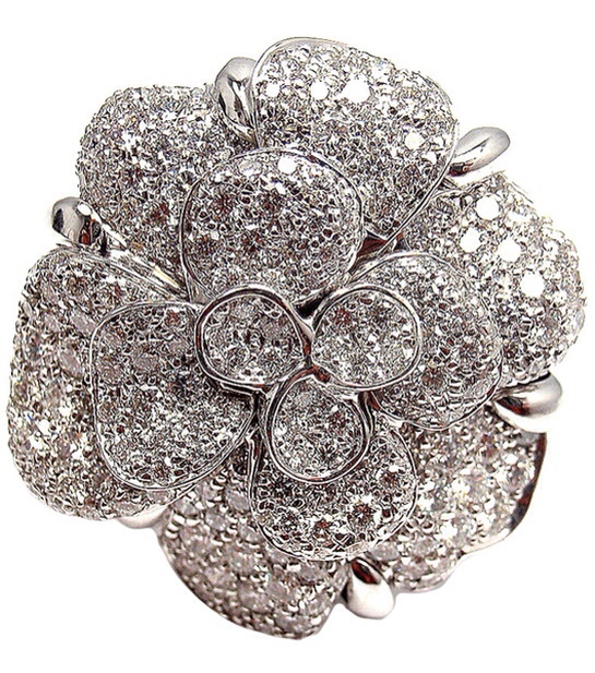 CHANEL Diamond Large Camelia Flower White Gold Cocktail Ring via Haute Tramp