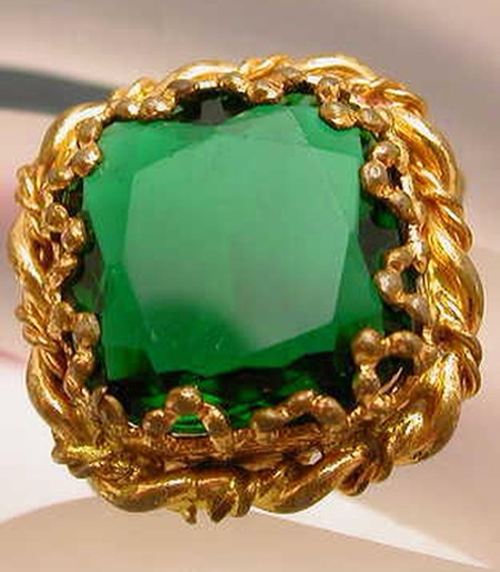 Vintage Western W. Germany Green Rhinestone Cocktail Ring