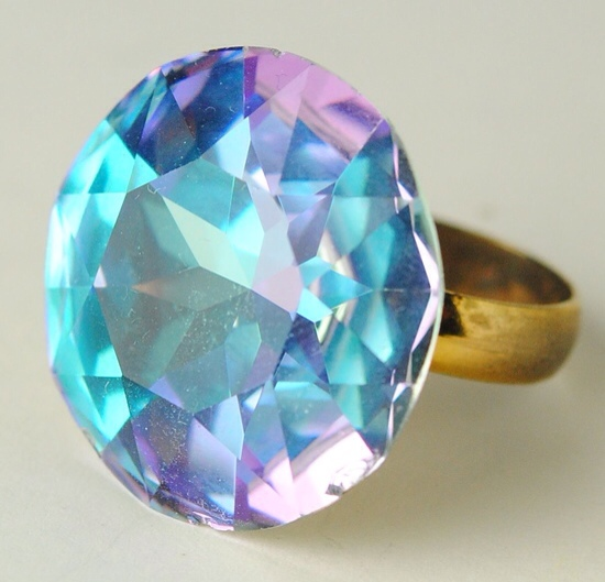 Huge Vintage Faceted Purple and Blue Rhinestone Cocktail Ring by Wendy Gell