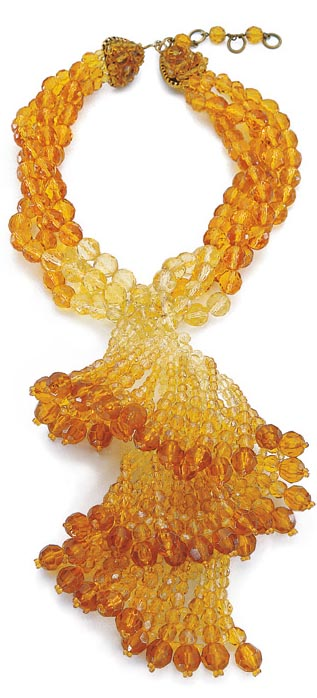 Topaz Faceted Spiral Swirl Necklace, Coppola e Toppo ca. 1962