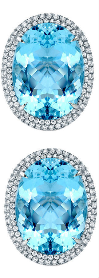 TAMIR Marvelous Aquamarines and Micro-Set Diamond earrings.