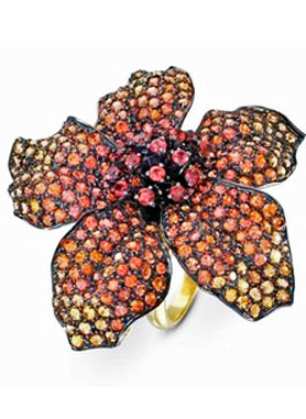 Hibiscus Ring by Lydia Courteille Majestic hibiscus petals glittering in orange sapphire.