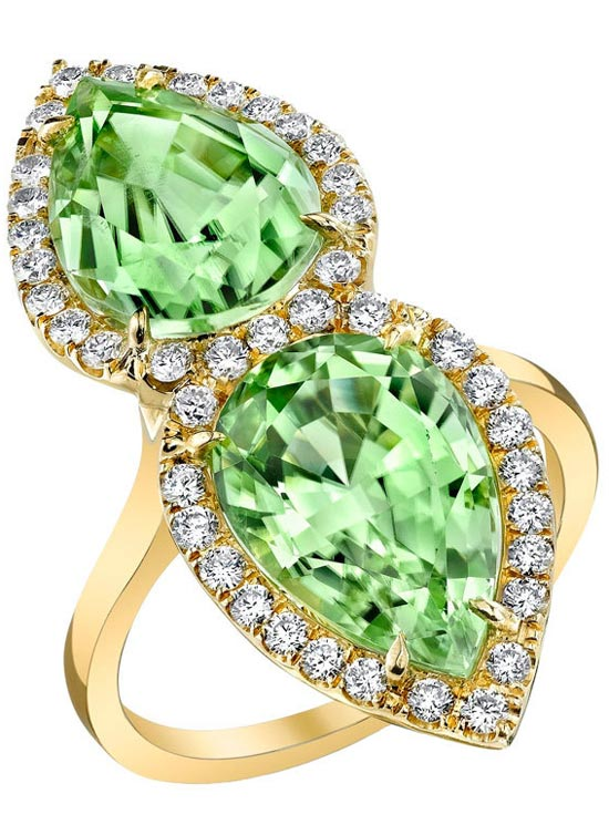 TAMIR Magnificent Twin Peridot and Diamond Ring, Haute Tramp