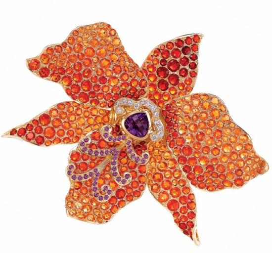 """Orchid"" brooch in opals, amethysts, diamonds and gold by Paula Crevoshay"