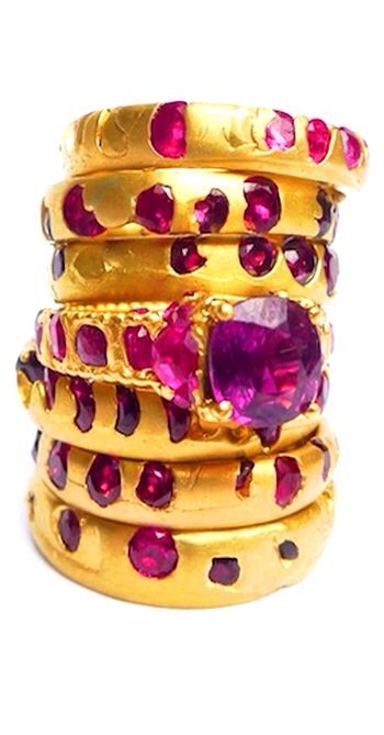 Ruby Crystal Rings by Polly Wales  via Haute Tramp