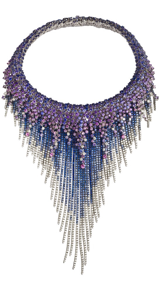 MEDUSA Necklace-WHITE GOLD, DIAMONDS (CT 12,44) AND SAPPHIRES (CT 127,86) By Damiani Jewelry