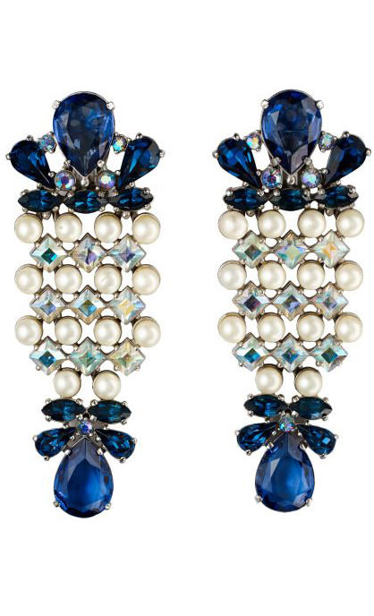 Vintage Costume Jewelry Love-Schiaparelli Crystal and Pearl Cocktail Earrings