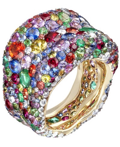 A radiant rainbow of diamonds, rubies, sapphires, emeralds and tsavorites adorn the contours of this new cocktail ring, from Fabergé, via Haute Tramp