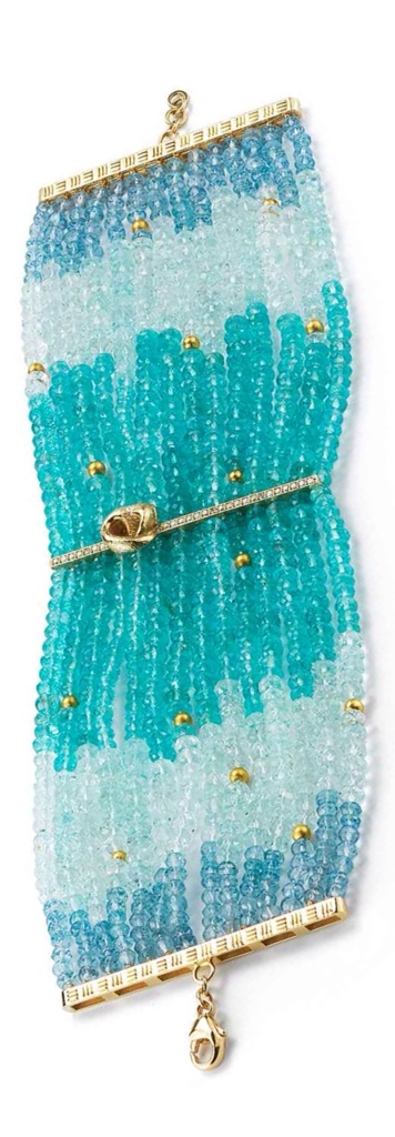 18 Karat yellow Gold Bracelet with Apatite, Green and Blue Aquamarine, Gold beads and Diamonds by Mary Esses, via Haute Tramp