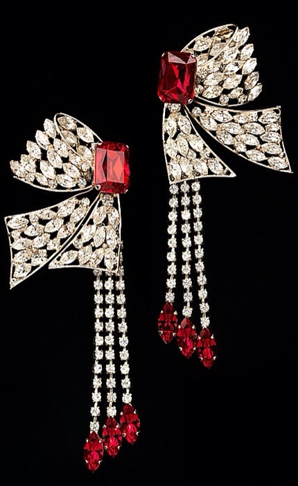 {Daily Jewel} Yves Saint Laurent Diamanté Bow Drop Earrings