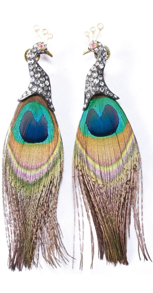 {Daily Jewel} Lotus Arts de Vivre Peacock Feather and Diamond Earrings