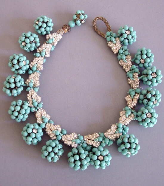 HASKELL Aqua Glass Beaded Balls and Clear Rhinestone Leaves Necklace, circa 1940