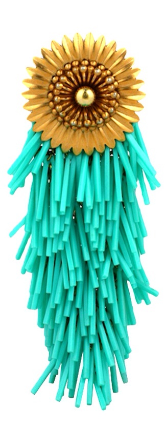 {Daily Jewel} Large Turquoise Cascade Flower Head Brooch, Haute Tramp