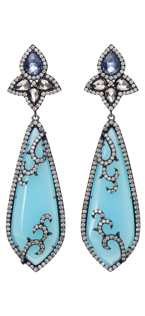 {Daily Jewel} 18K BLUE AGATE AND WHITE SAPPHIRE EARRINGS, Haute Tramp