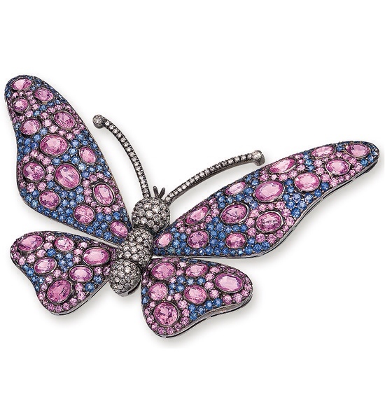 Pink and Blue Sapphire Butterfly Brooch by Cellini Jewelers, via Haute Tramp