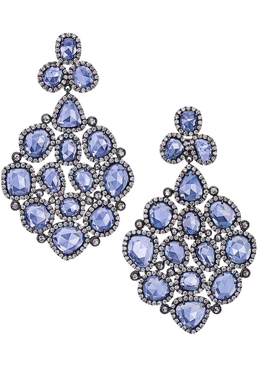 Blue Sapphire Chandelier Earrings, Cellini, Haute Tramp