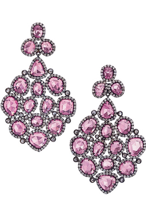 Pink Sapphire Chandelier Earrings, Cellini, Haute Tramp