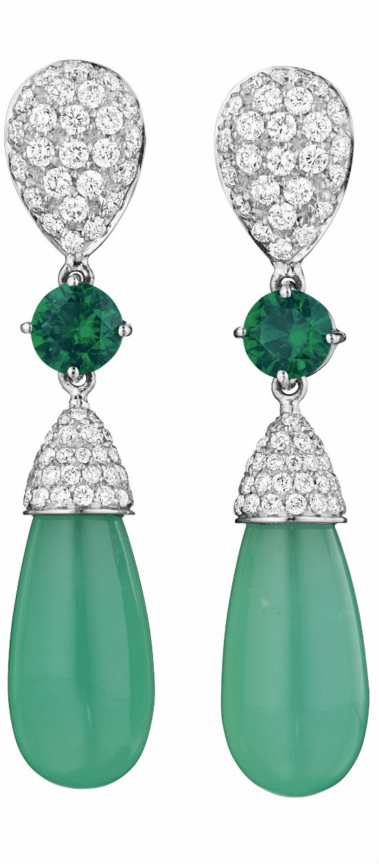 MARGHERITA BURGENER A Pair of Chrysoprase, Chrome Diopside and Diamond Ear Pendants via Haute Tramp