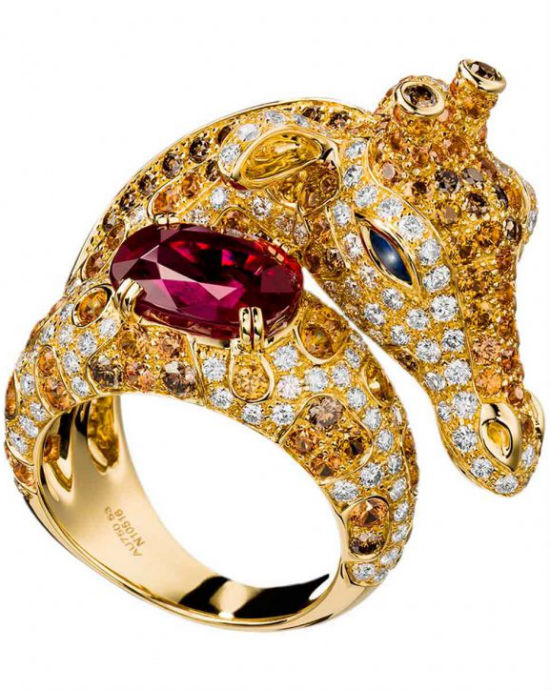 Zarafah ring set with rubies, blue sapphires, orange sapphires, brown diamonds and white diamonds by Boucheron