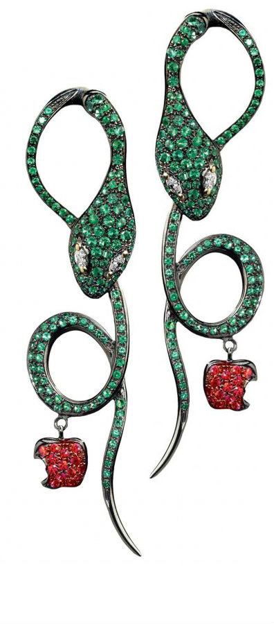 Emerald, ruby, gold and diamond earrings by Dada Arrigoni