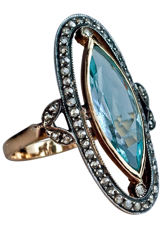 Edwardian Era Antique Aquamarine and Diamond Ring | Haute Tramp