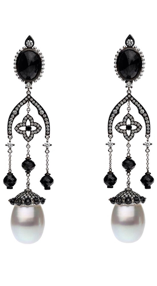 Pearl, Diamond, and Onyx Earrings by Autore via Haute Tramp