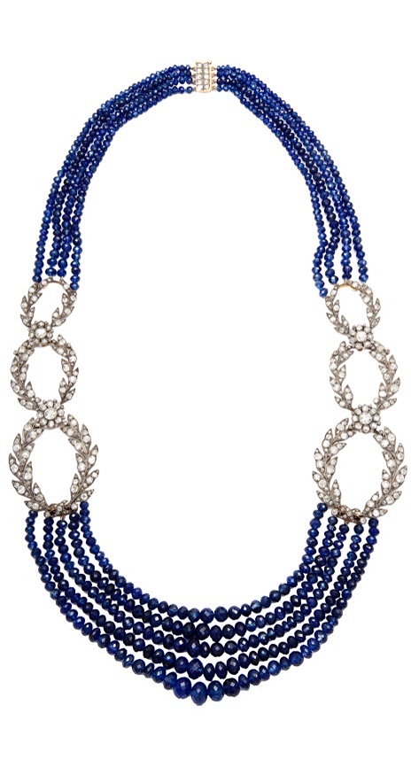 French Sapphire and Diamond Necklace, ca 19th Century, via Haute Tramp