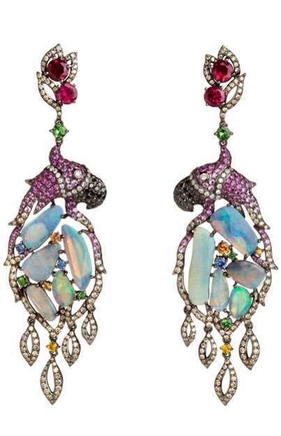 Fantasie Pretty Polly Earrings Created in 18ct white gold, diamond, sapphire and garnet by Wendy Yue | Haute Tramp