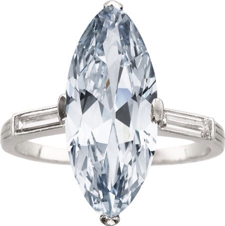 {Daily Jewel} Art Deco Natural Fancy Blue Diamond, Diamond, Platinum Ring, J.E. Caldwell