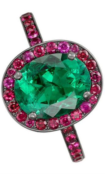Betteridge ruby and emerald ring