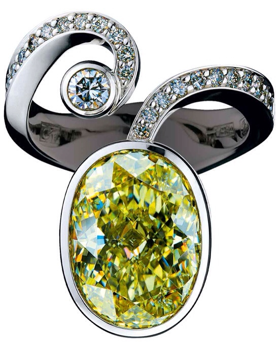 Green Gemstone, diamond, and gold ring by Jewellery Theatre