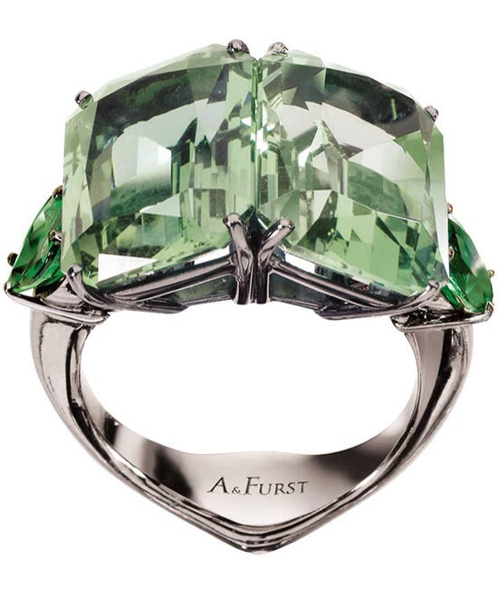 Janis by Janis Savitt Matte Gold Aqua and Fern Green Crystal Cocktail Ring