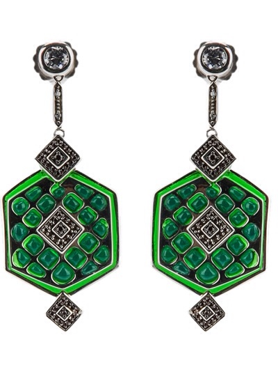 Miriam Salat Emerald Green Window Earrings