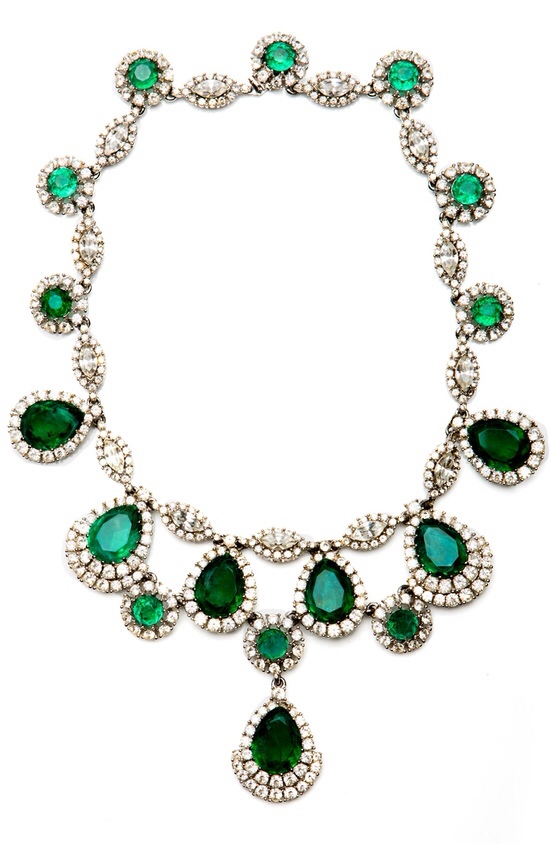 Vintage Ciner Emerald Green Rhinestone Necklace